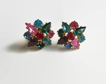 Fruit Salad Earrings, Vintage Czech Multicolor Crystals & Gilt Brass Clusters, Signed Czechoslovakia, Art Deco Era, CIJ