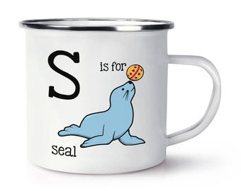 Letter S Is For Seal Retro Enamel Mug Cup
