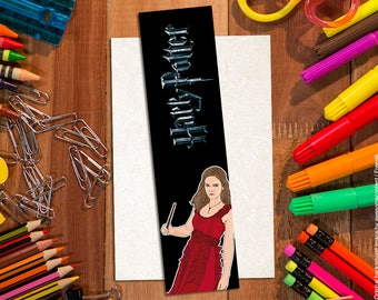 Bookmark Hermione Granger. Bookmark Harry Potter. Cartoon illustration. Emma Watson. Harry Potter items. Harry Potter gadgets.