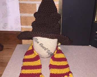 Crochet Hogwarts Sorting Hat and the Griffindor Scarf Photo Prop Costume Dress Up