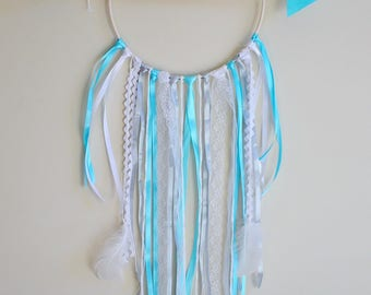 Dream catcher ★ ☆ ★ Decoration wall hanging Dreamcatcher blue white Theme ☆ wood arrow and feathers