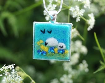 Sheep gifts, turquoise pendant necklace, Birthday gift, shepherd, shepherdess, silver necklace, fibre art, wool, Gifts for her, customise