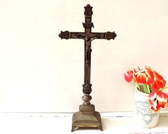 Antique French Standing Altar Crucifix/French Vintage Crucifix/Vintage Crucifix/Vintage Altar Crucifix/Antique Crucifix/Standing Crucifix