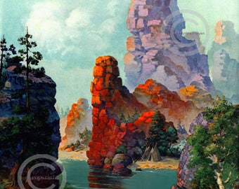 Art Deco Scenic Mountain Print, native american Indians, Rocky Cliffs, River, Indian canoe, Teepee's, wall art 1920's, Giclee  Print 16x20
