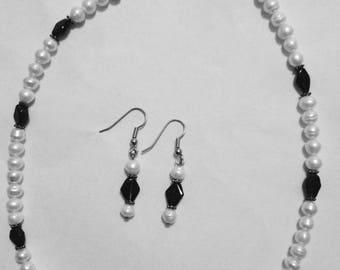 Pearls & Garnet Stainless Steel Hypoallergenic.