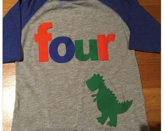 Four dinosaur t rexbirthday t shirt, boys dino birthday shirt, 4th birthday dinosaur shirt, raglan style shirt, orange, blue green T. rex