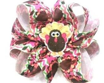 Thanksgiving Hair Bow , Turkey Hair Bow , Octopus Bow , 8 Loop Hair Bow , Turkey Day Bow , Thanksgiving Headband , Turkey Headband