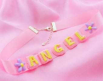 Hand-painted Cake Letters Satin Ribbon Choker