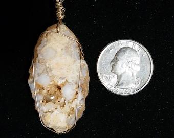 Geode Slice Sterling Silver Pendant