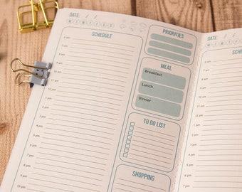 Daily planner, Undated planner, Midori insert, Travelers notebook, Midori notebook, Fauxdori inserts, Midori refill, Daily insert