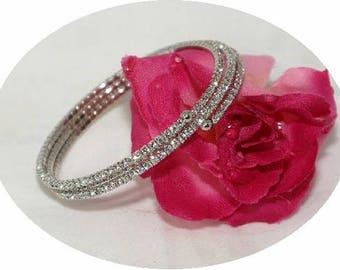 Swarovski wedding bracelet, bridal crystal coil bracelet, crystal cuff bridal bracelet, bridesmaids crystal bracelet, bridesmaids bracelet