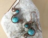 Aqua blue Turquoise earrings - Copper - Wire Wrapped - Handmade - Beaded - Artisan Jewelry