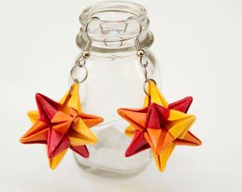 Orange Origami Omega Star Earrings
