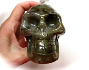 Madagascar Labradorite Carved Crystal Skull Pluto Connection Galactic Energies 97mm 686g