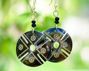 Brown Geometric Printed Earrings Handmade in Kenya