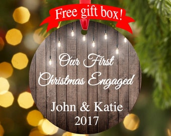 Engagement gift, Personalized Our First Christmas Engaged ornament, Christmas ornament,  ceramic, permanent