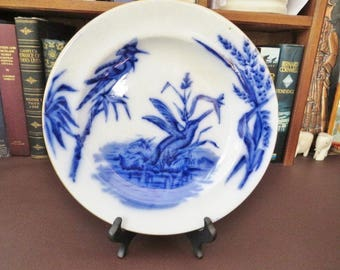 c 1873 + Victorian Flow Blue Plate Kingfisher  Decoration - Edge Malkin & Co