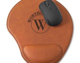 Personalized Mouse Pad, Faux Leather Mouse Pad, Rawhide Mouse Pad
