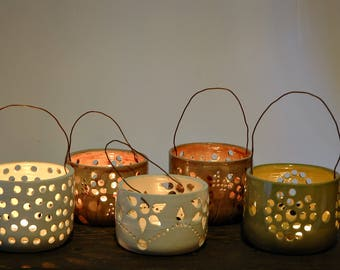 Ceramic lantern, Candle Luminary, pottery lantern