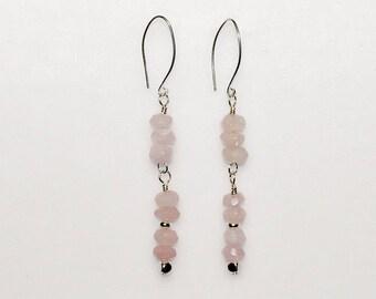 Rose Quartz Drop Earrings Spring Summer Wedding Jewelry Birthday Gift for Her Healing Love Stone Minimalist Artisan Pink Silver Pink Dangle