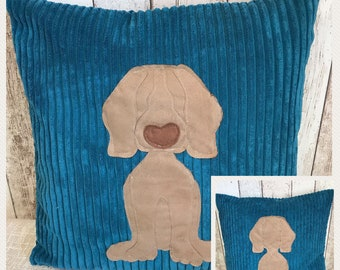 Weimeraner dog - teal blue Reversible Cushion with a tail