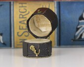 Antique Ring Box Octagonal Engagement or Wedding Ring Box with Gold Lettering
