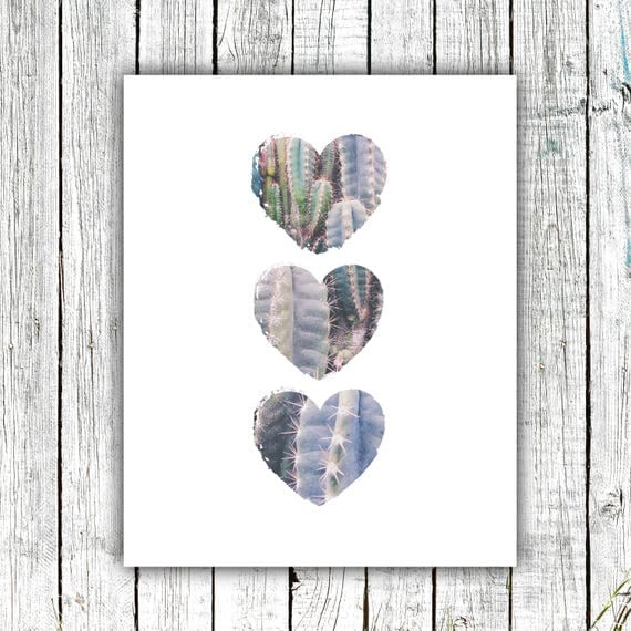 Nursery Art Printable, Three Cactus Hearts, Cactus Art, Instant Download #661