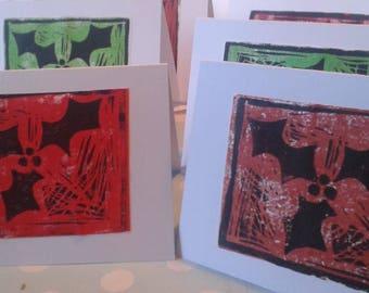 Lino printed Christmas cards