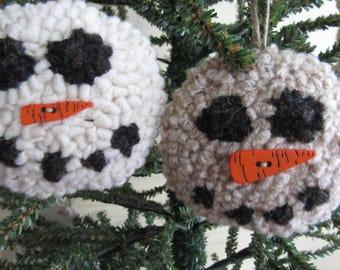 Primitive Hooked Rug Scary Snowman Snowball Christmas  Ornaments