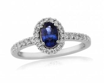 Sapphire & Diamond Halo 18ct Gold Ring