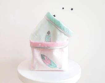 Lot de Panières rangement bébé, Plumes, cadeau naissance, décoration chambre bébé, blanc, vert d'eau, rose, motifs étoiles, accessoire fille