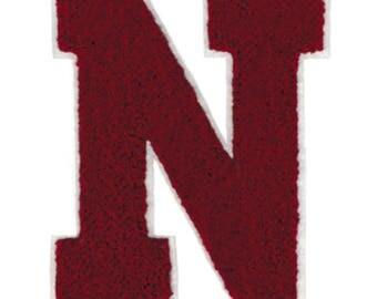 "Large Chenille Burgundy Letter ""N"" Patch 12cm Nancy Nick Nikki Nina Applique"