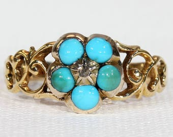 Victorian Turquoise Diamond Forget-Me-Not Ring Gold Size 7.5