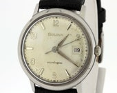 Classic Bulova Wrist Watch Date Dial Selfwinding Stainless Steel Case