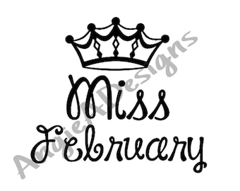 Miss February with Crown SVG