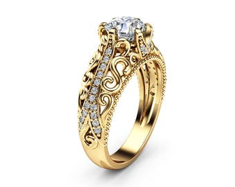 Charles Colvard Moissanite Engagement Ring 14K Yellow Gold Art Deco Ring Moissanite Wedding Ring