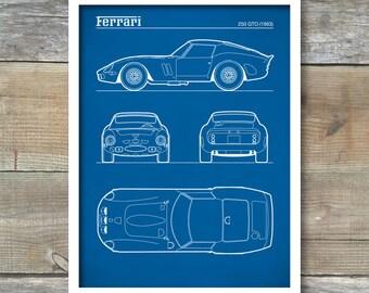 Patent Print, Ferrari 250 GTO Blueprint, Ferrari 250 GTO Poster, Ferrari T250 GTO Art, Ferrari Decor, P507