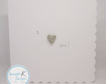 Irish PebbleArt Valentines Card - Handmade in Ireland with Irish pebbles - I Love You