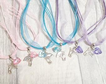 Pony Necklace, Party Bag Filler, Girl Party Favor, Horse Necklace, Birthday Favors, Party Favors, Loot Bag Filler