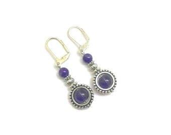 Amethyst Earrings, Amethyst Drop Earrings, Amethyst Dangle Earrings, Amethyst Jewelry, Gemstone Earrings, Birthstone Earrings, Plum Earrings