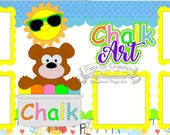 Scrapbook Page Kit Chalk Art Sidwalk Chalk Boy Girl 2 page Scrapbook Layout Kit 148