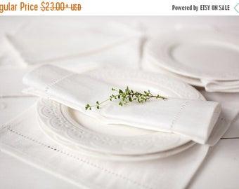Ivory linen napkins - Cloth napkins linen set of 6 - Spring wedding napkins - linen serviettes - hemstitch napkins - ivory napkin cloths