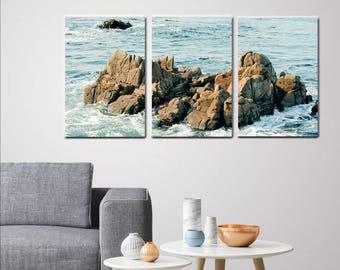 3 piece wall art, 3 panel wall art extra large wall art beach split tryptic wall art canvas nautical wall art Monterey rock, aqua blue brown