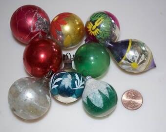 Vintage Christmas Glass Ball Ornaments Set of 9 Mini Small