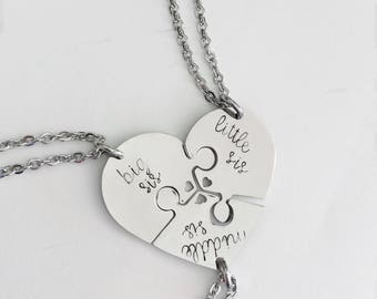 Sisters necklace - Big sis - Middle sis - Little sis - Hand stamped necklace - Sisters jewelry - Three sisters - Puzzle piece necklace