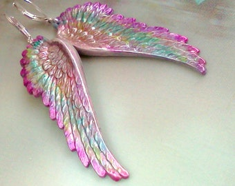 Painted Angel Wings, Angel Wing Earrings, Painted Wing Dangles, Wing Jewelry, Religious Jewelry, Spiritual Jewelry, Angel Wings, Ethereal
