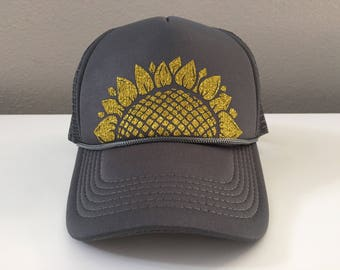 Sunflower Hat - Snap Back Trucker - Gold Glitter Gray Hat
