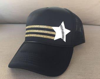 Baseball Softball Star Hat - Snap Back Trucker Baseball