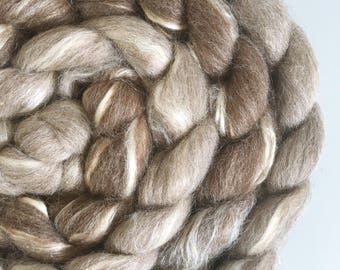 Light and Dark natural undyed roving tops BFL silk 200g