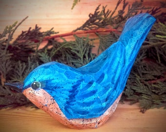 Hand Carved Windowsill Bird (Bluebird) carved from white pine.